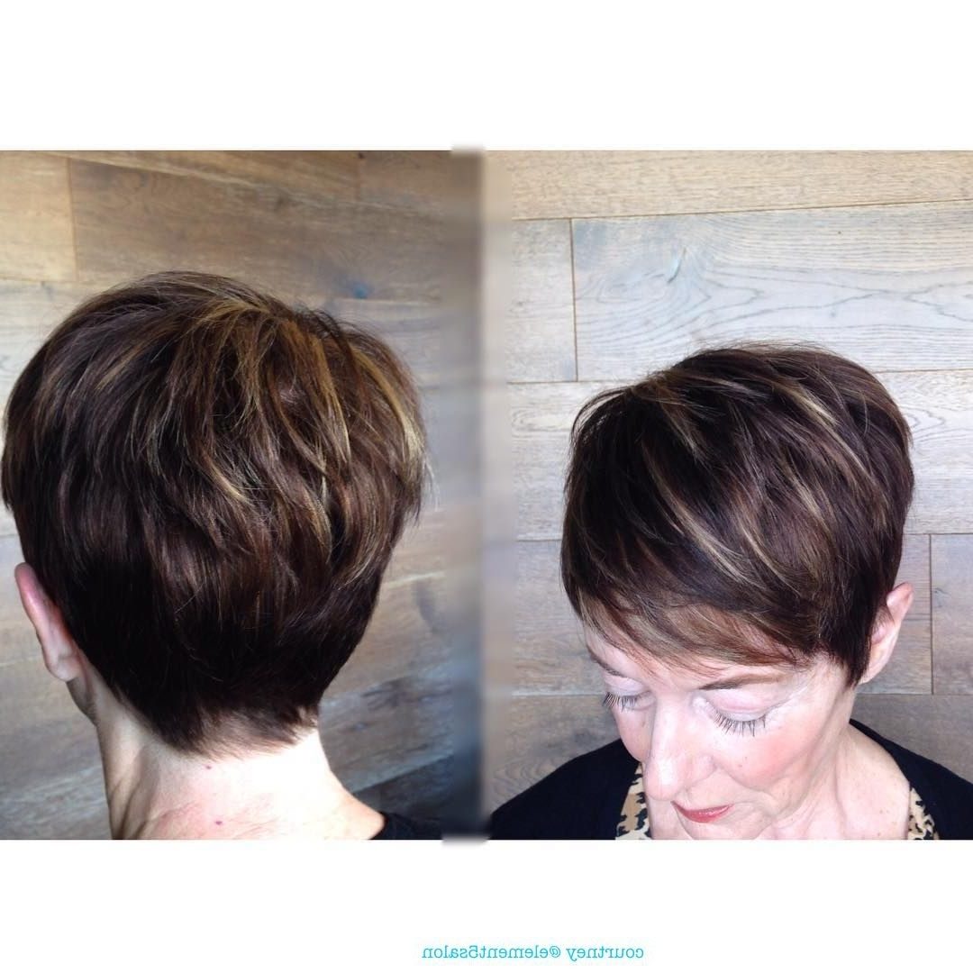 Popular Feathered Pixie With Balayage Highlights With Short Textured Pixie Cut Dark Hair Light Blonde Caramel Highlights (View 18 of 20)