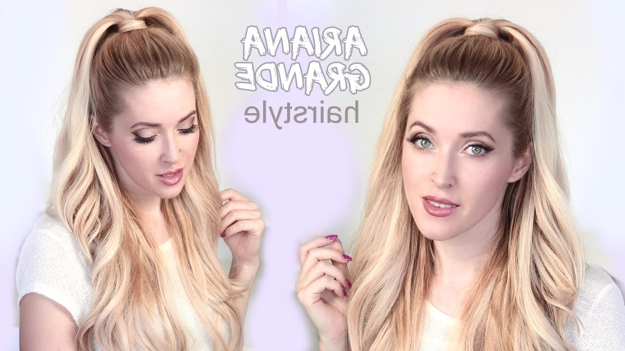 Popular Half Ponytail Hairstyles With Regard To Ariana Grande Hair Tutorial ❤ Half Ponytail Hairstyle With (View 4 of 20)