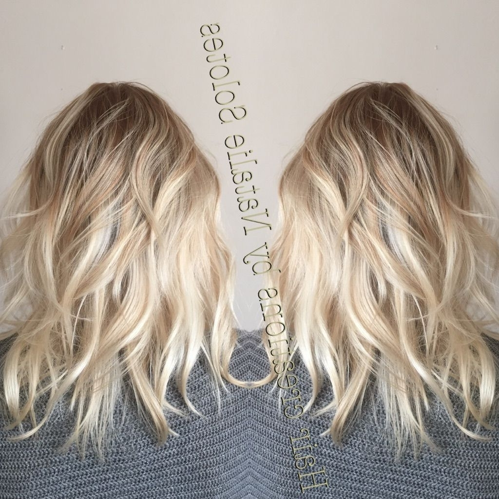 Popular Icy Ombre Waves Blonde Hairstyles Regarding Baby Blonde Icy Balayage Colormelt Color Transition Rooted (View 10 of 20)