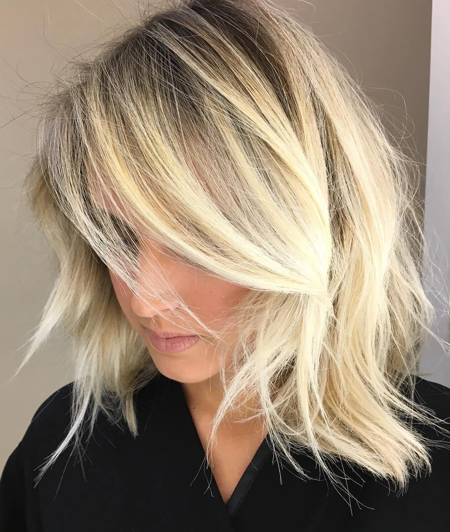 Popular Messy Blonde Lob Hairstyles With Regard To 20 Modern Ways To Style A Long Bob With Bangs (View 15 of 20)