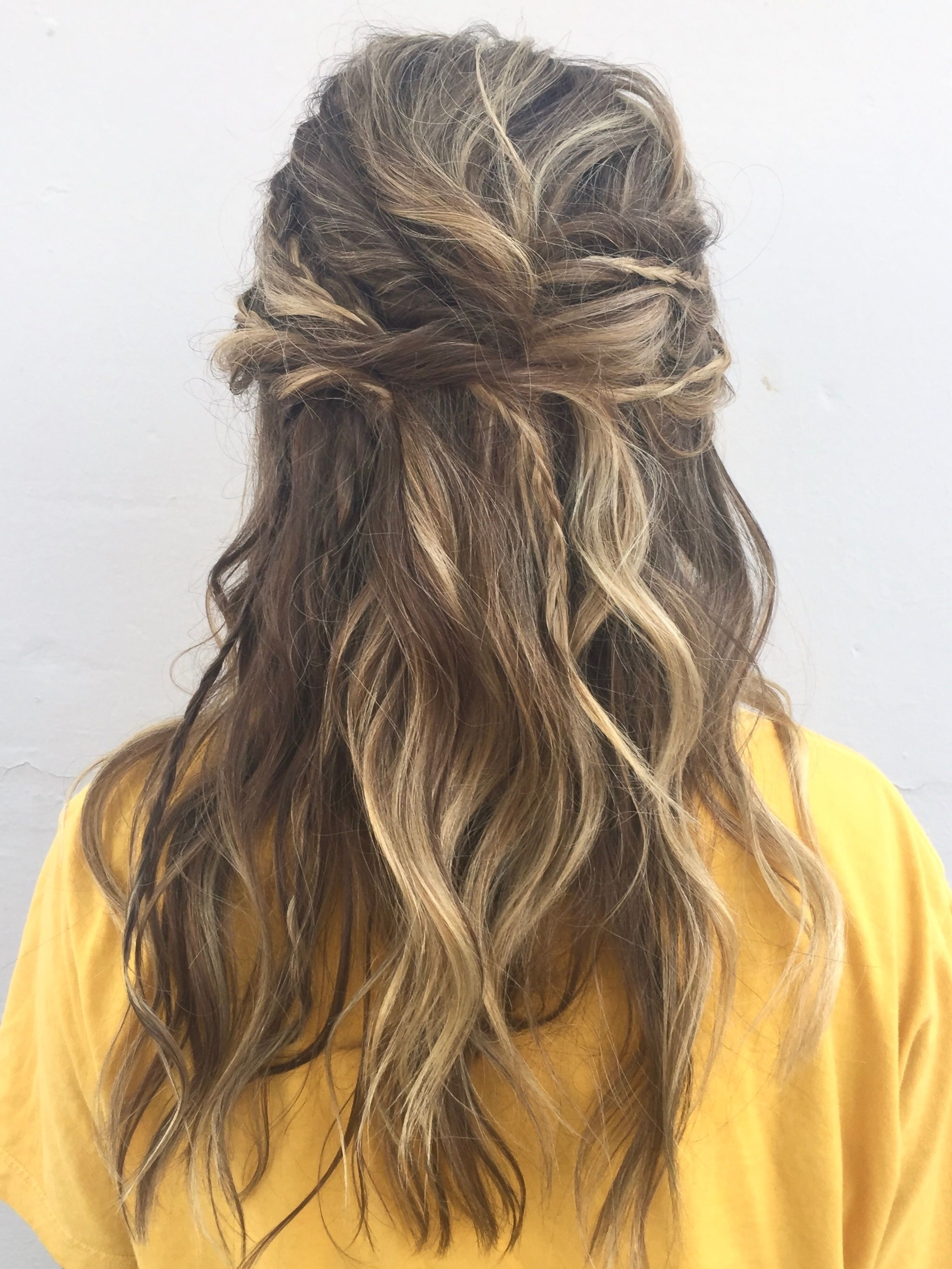 Popular Messy Half Ponytail Hairstyles For Boho Hair Prom Updo With Braids And Twists And Messy Waves Half Up (View 13 of 20)