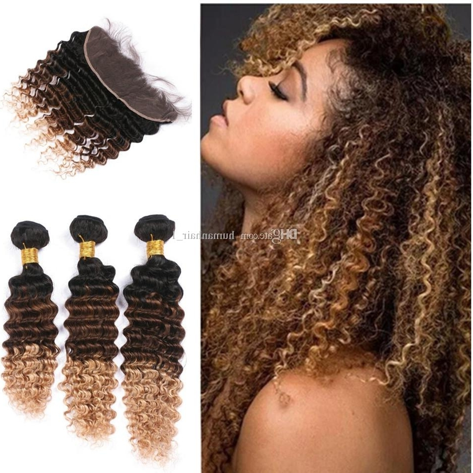 Preferred Blonde Ombre Waves Hairstyles With Regard To 2018 Wholesale #27 Blonde Ombre Deep Wave Peruvian Hair 3 Bundles (View 9 of 20)