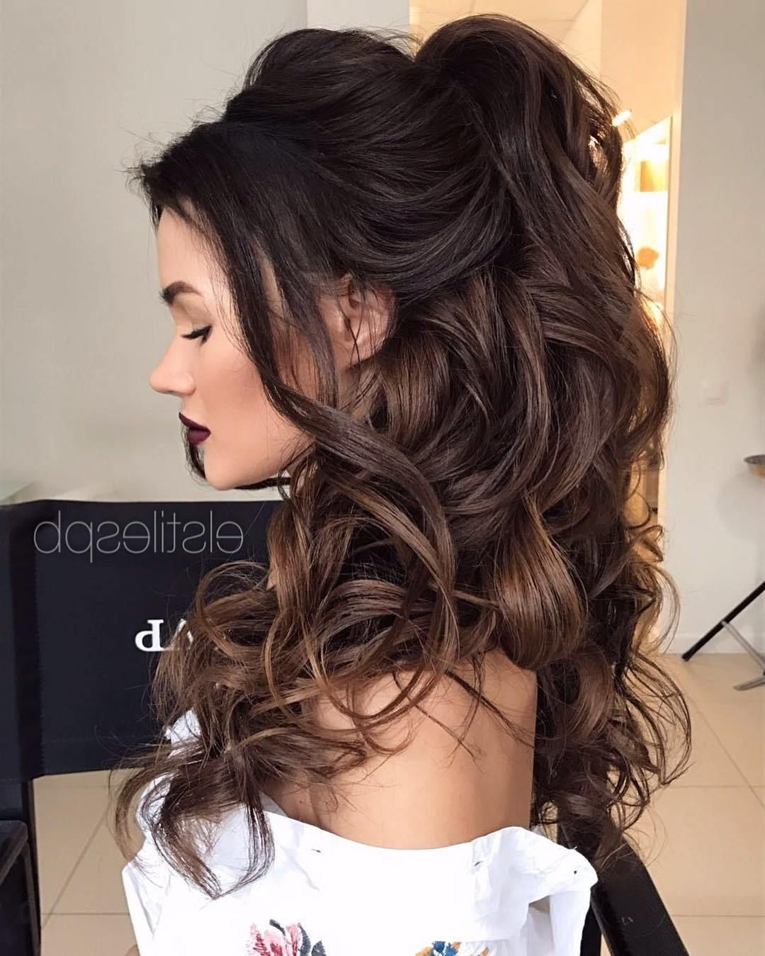 Preferred Formal Half Ponytail Hairstyles Pertaining To 30 Eye Catching Ways To Style Curly And Wavy Ponytails (View 18 of 20)