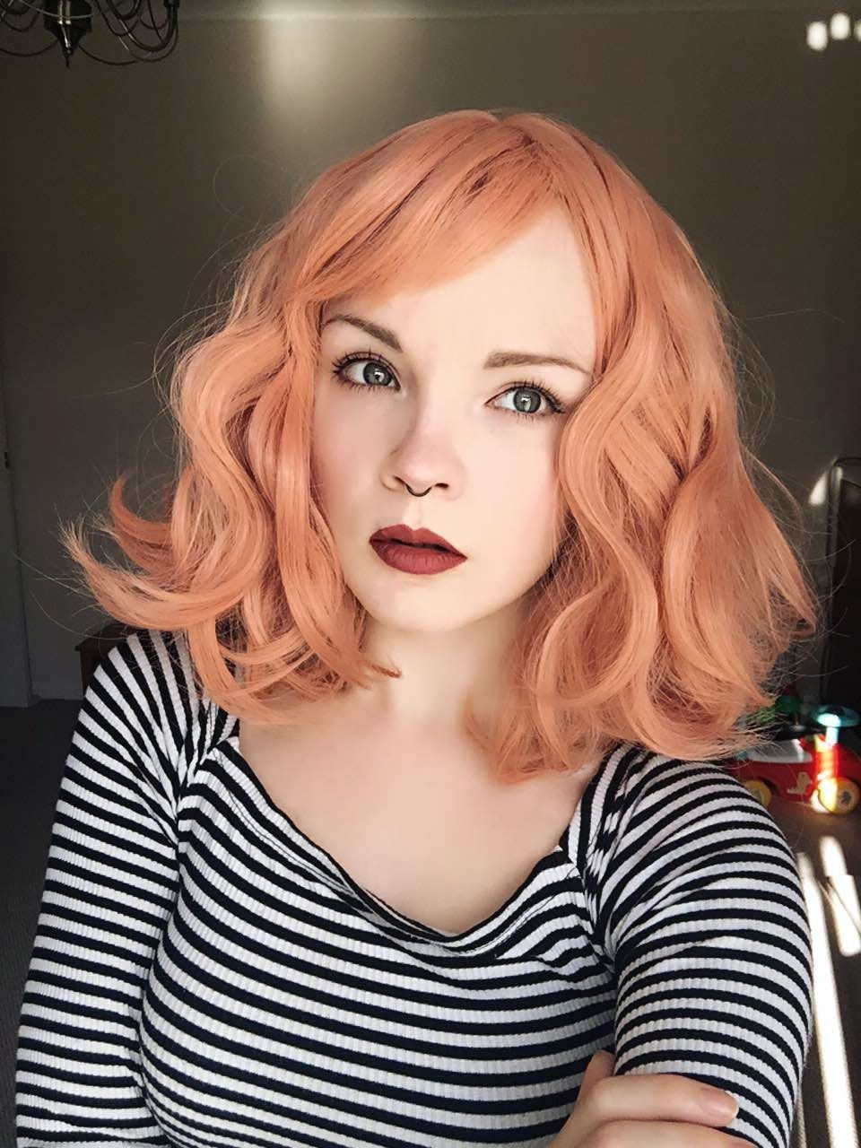 Preferred Lush And Curly Blonde Hairstyles Pertaining To Peach Tea – Lush Wigs – Wavy Bob Fringe Peach Orange Pastel Lush Wig (View 11 of 20)