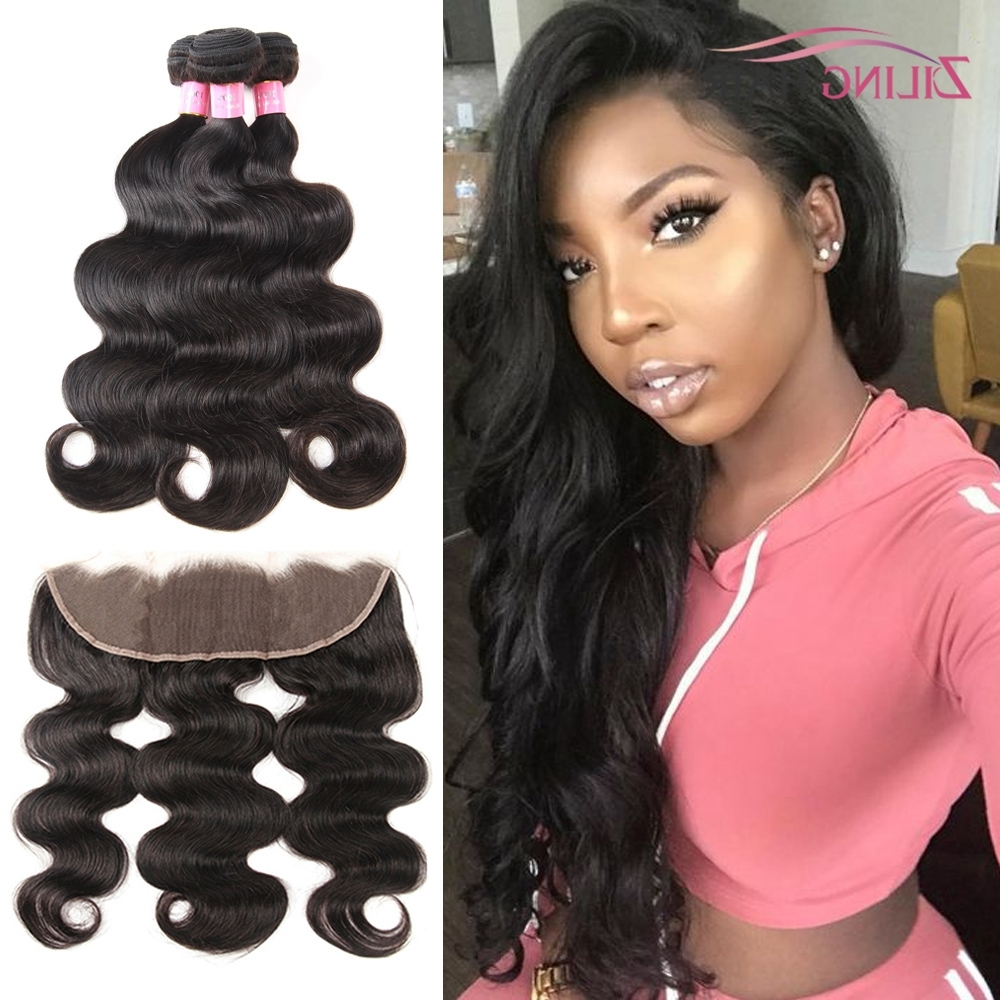 Preferred Natural Color Waves Hairstyles For Brazilian Body Wave 3 Bundles With Frontal Bleached Knots With Baby (View 9 of 20)