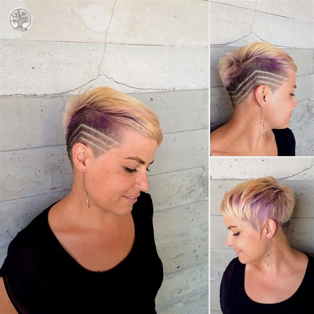 Preferred Platinum And Purple Pixie Blonde Hairstyles With Regard To Women's Eccentric Blonde Asymmetric Pixie With Shave Detail And (View 15 of 20)