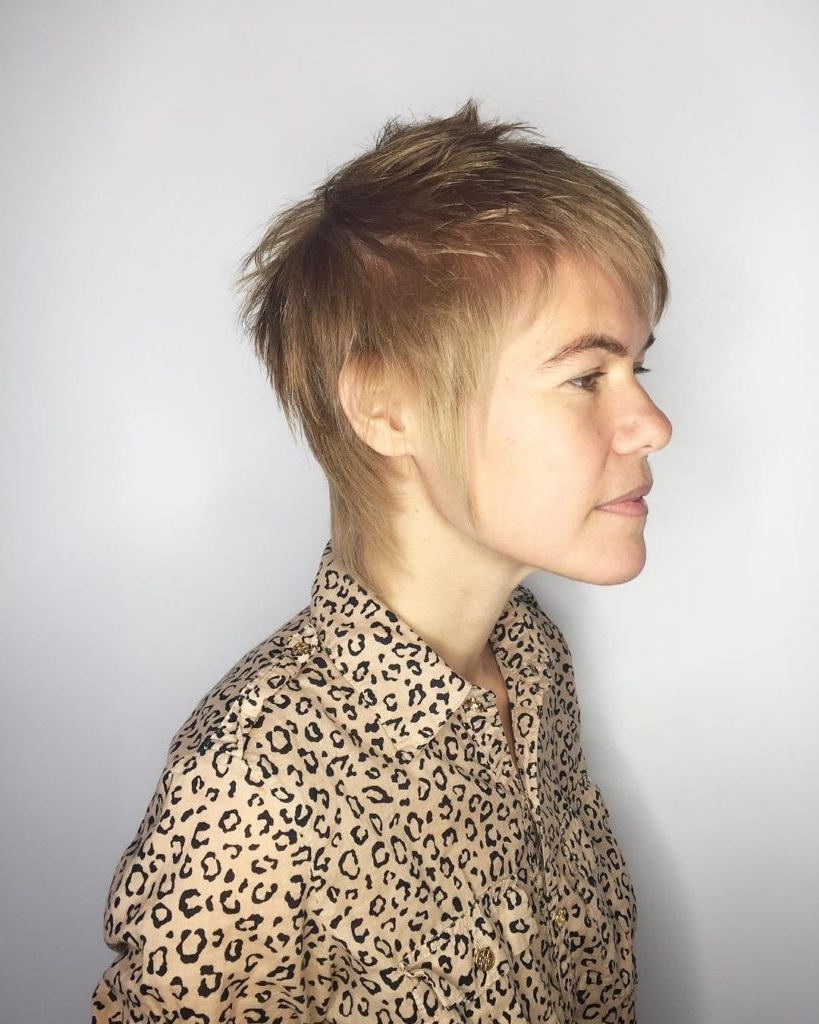 Preferred Shaggy Fade Blonde Hairstyles Within Women's Ash Blonde Bias Cut Pixie With Messy Texture And Bangs Short (View 17 of 20)