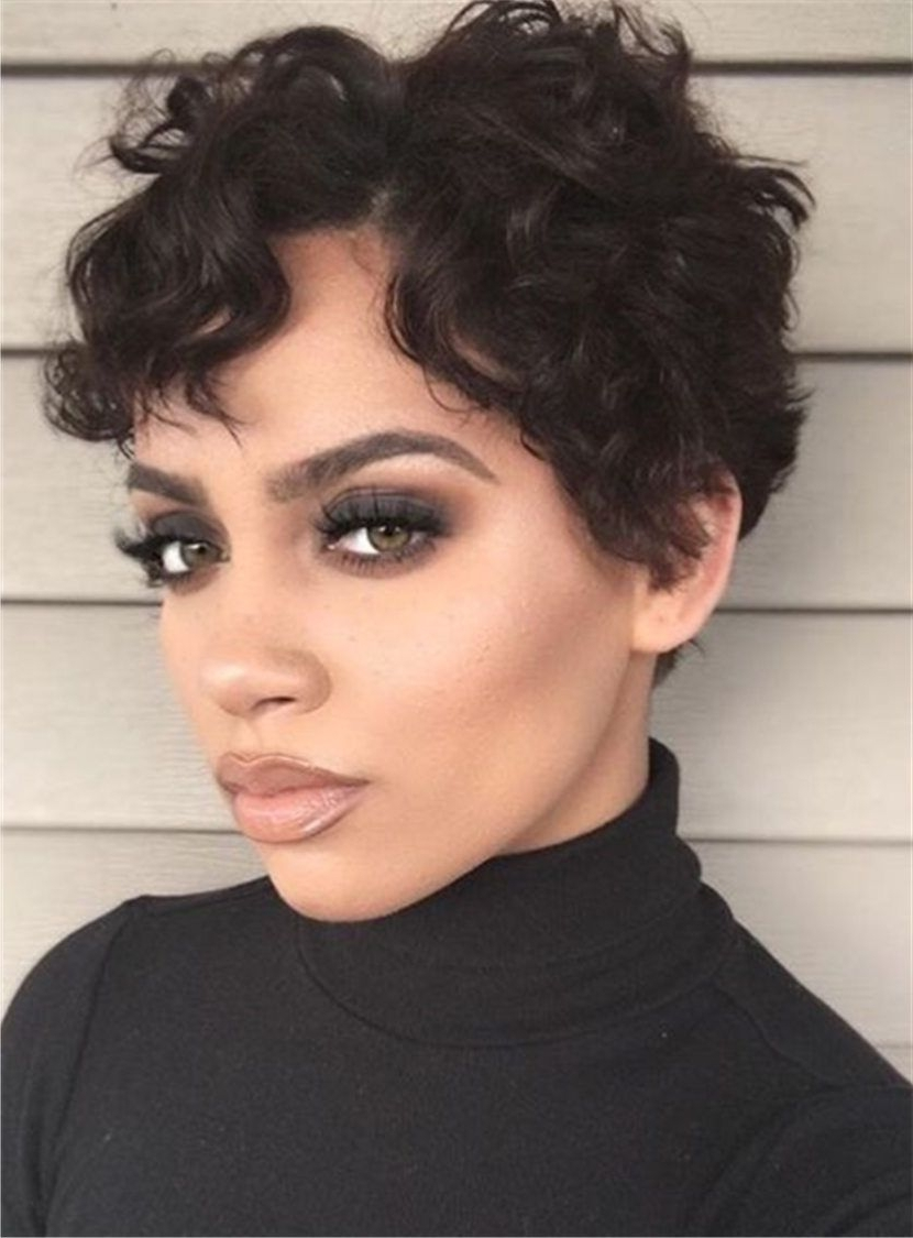 Preferred Short Black Pixie Hairstyles For Curly Hair Intended For Boycut Sexy Curly Pixie Short Synthetic Hair Lace Front African (View 4 of 20)