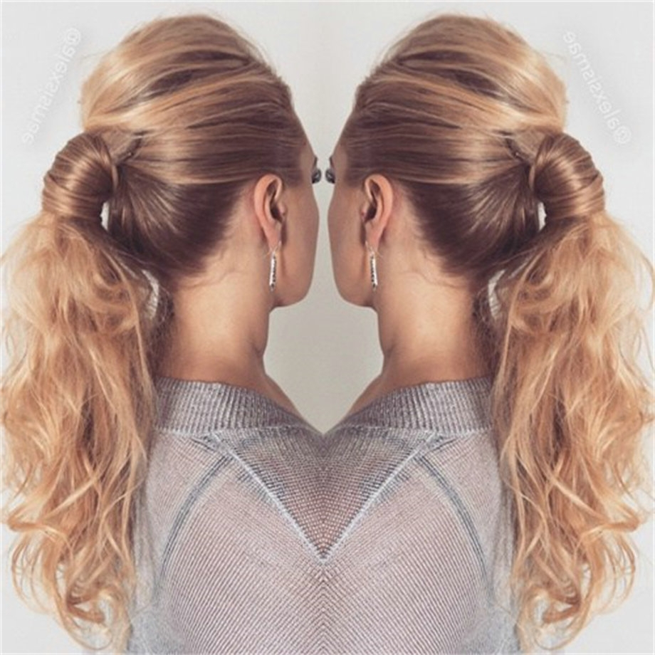 Preferred Simple Blonde Pony Hairstyles With A Bouffant Pertaining To Human Hair Ponytail Curly Blond 613 Clip 60 Platinum Blonde Virgin (View 15 of 20)