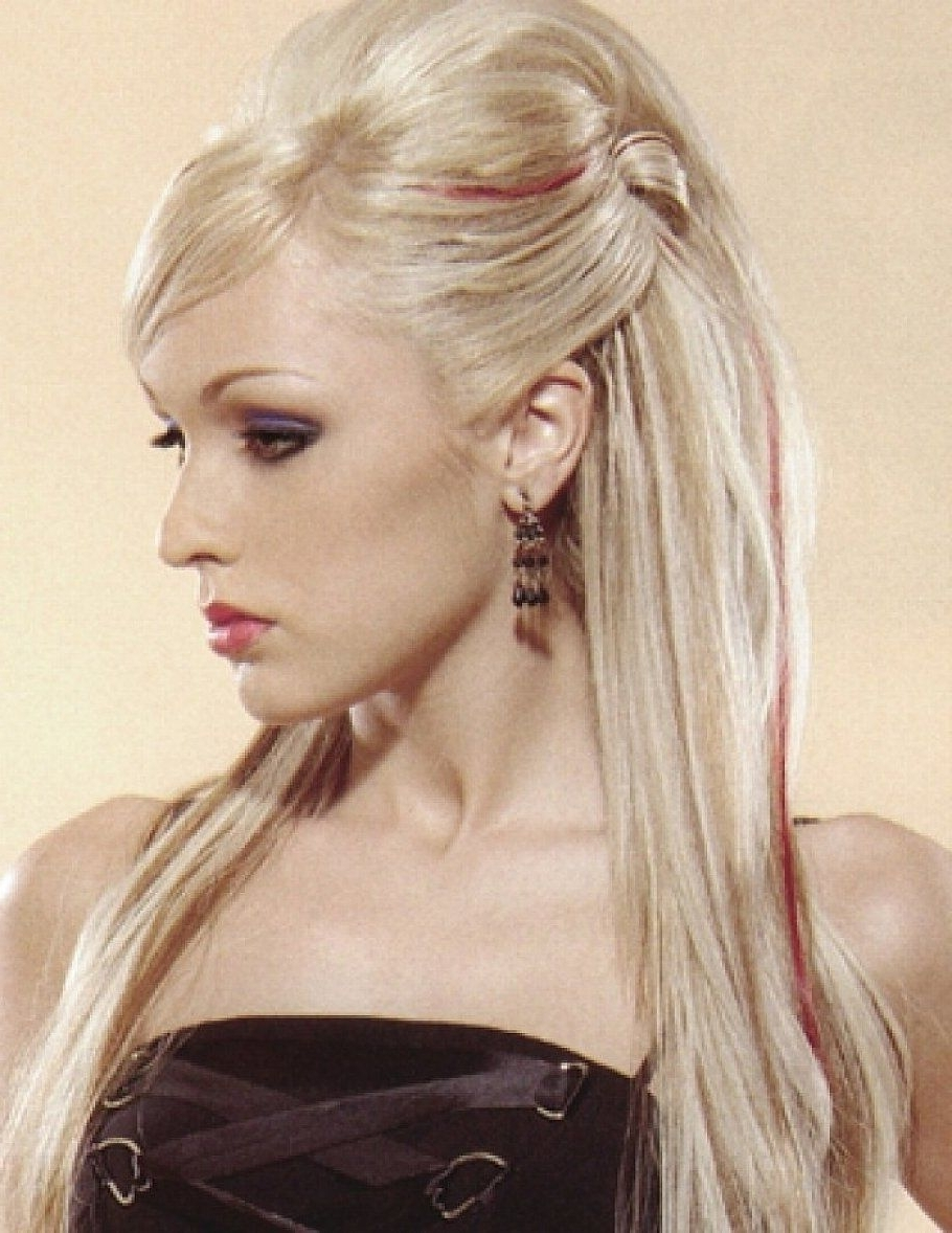 Prom Blonde Updo Hairstyles For Long Straight Hair With Side Bangs Within Widely Used Blonde Flirty Teased Ponytail Hairstyles (View 16 of 20)