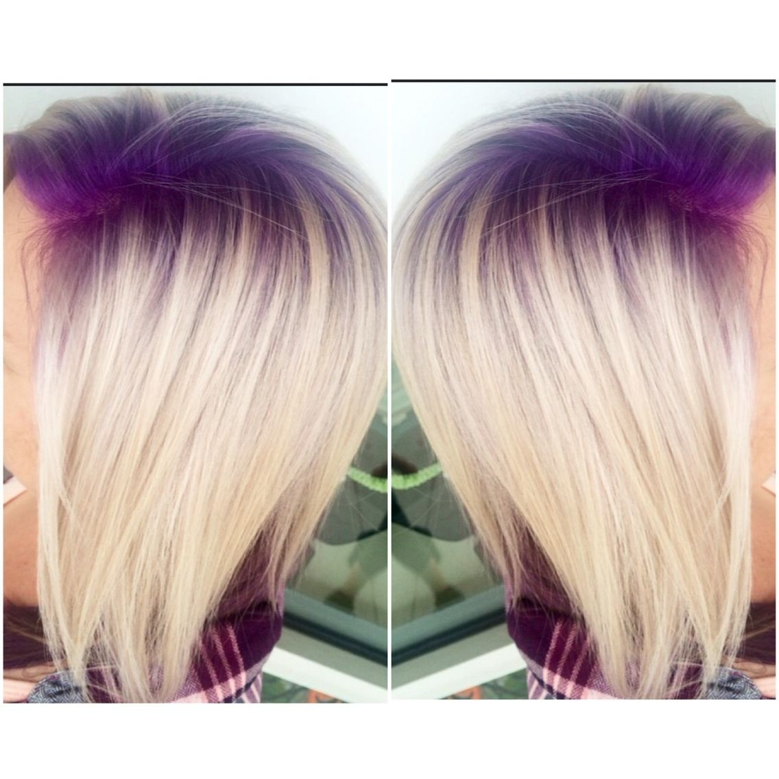 Purple Violet Shadow Root With Platinum Blonde Hair Follow On With Most Recent Platinum And Purple Pixie Blonde Hairstyles (View 16 of 20)