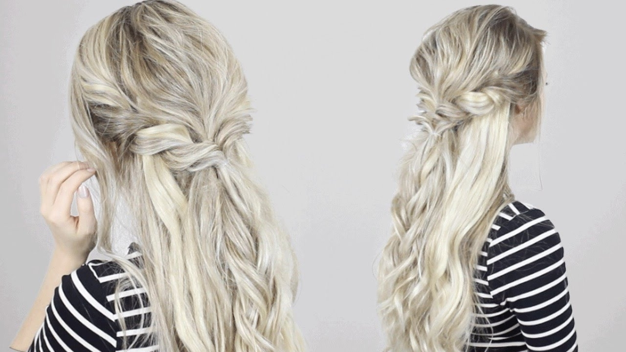 Quick Easy & Simple! – Youtube Intended For Favorite Ash Blonde Half Up Hairstyles (View 17 of 20)