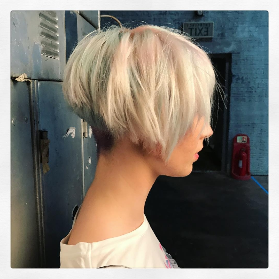 Recent Blonde Pixie Hairstyles With Short Angled Layers Intended For 10 Layered Bob Hairstyles – Look Fab In New Blonde Shades! – Popular (Gallery 5 of 20)