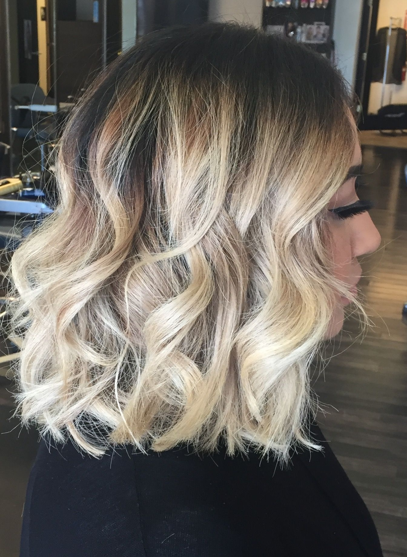 Photo Gallery Of Dark And Light Contrasting Blonde Lob Hairstyles