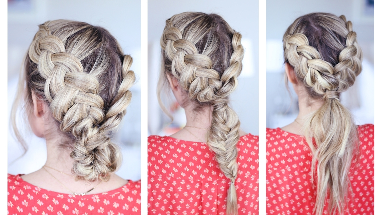Recent Dutch Braid Pony Hairstyles Pertaining To 3 In 1 Double Dutch Braids (View 16 of 20)
