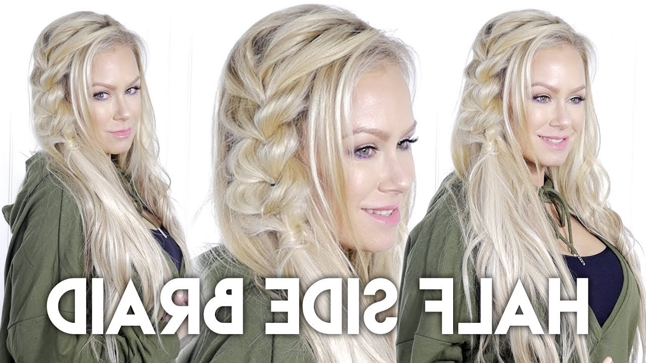 Recent Hidden Braid Hairstyles Inside Diy: Half Side Braid With Hidden Crown – Youtube (View 16 of 20)