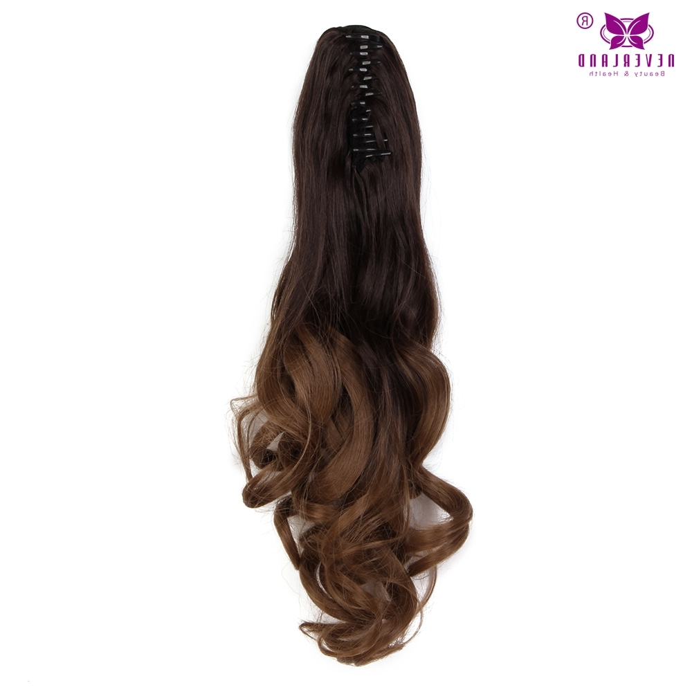 "Recent Ponytail Hairstyles With Wild Wavy Ombre Intended For Aimei 20"" 50Cm Synthetic Wavy Claw Clip In Ponytail Hair Extension (View 17 of 20)"