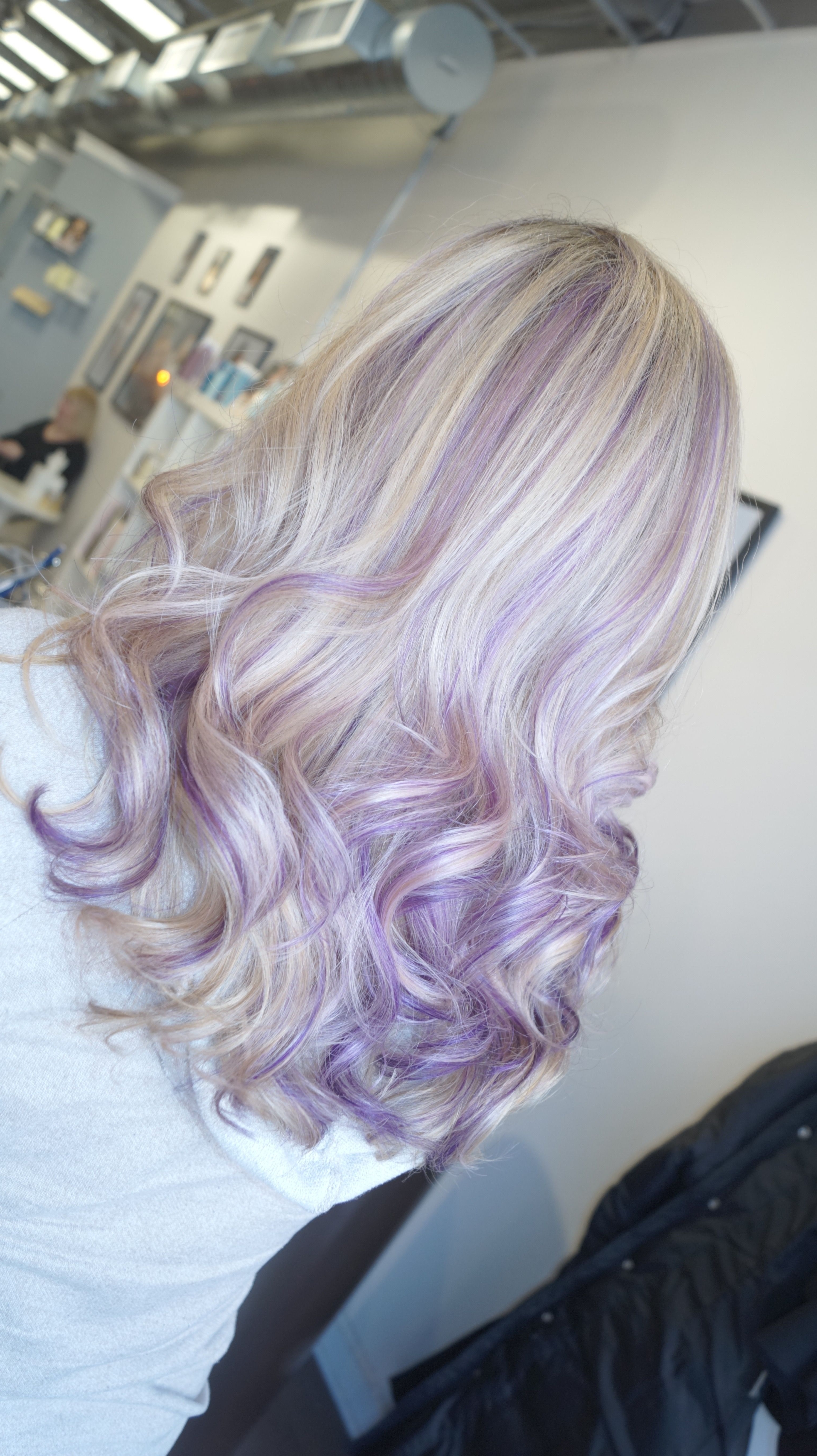 Recent Voluminous Platinum And Purple Curls Blonde Hairstyles Inside Lavender Highlights With Blonde Hair (View 17 of 20)
