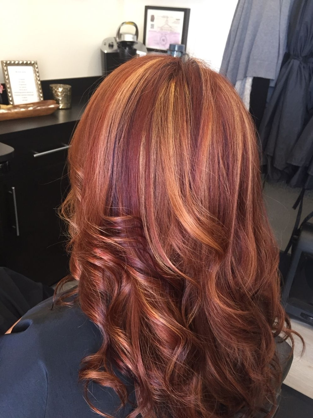Red Hair With Blonde Highlights And Violet Low Lights Intended For Well Known Light Copper Hairstyles With Blonde Babylights (Gallery 4 of 20)