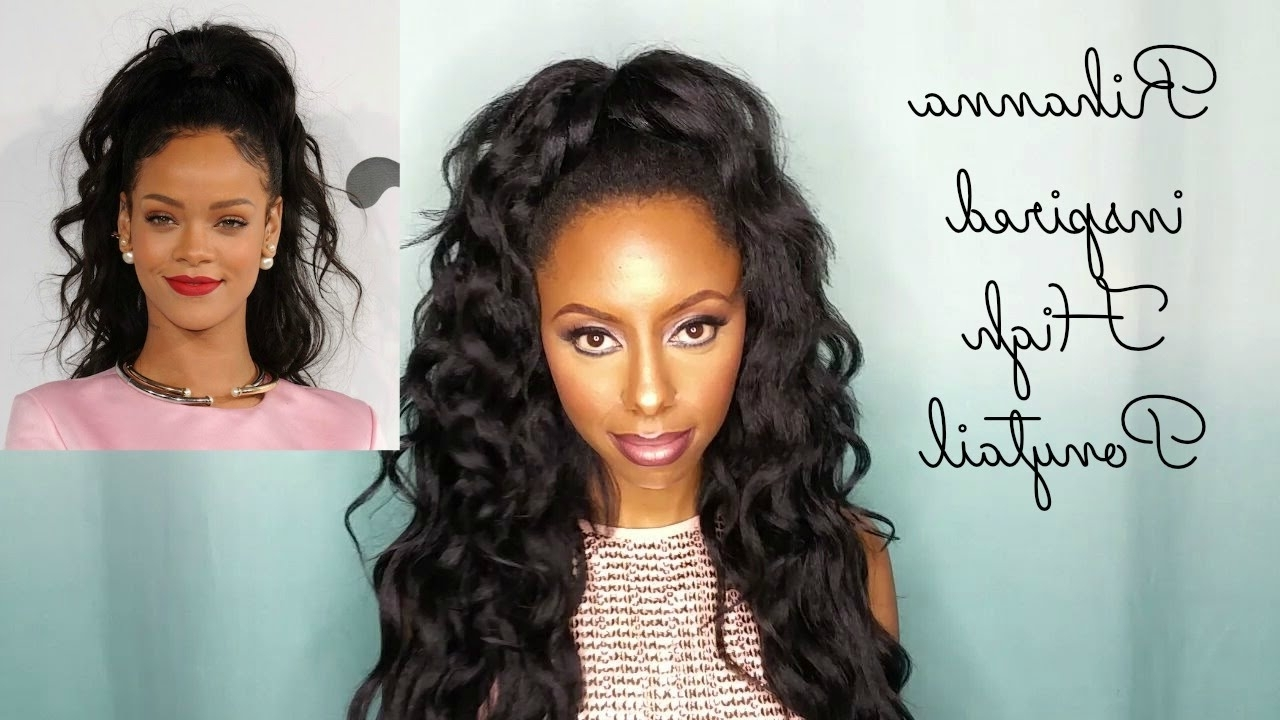 Rihanna Inspired Wavy High Ponytail (Gallery 4 of 20)