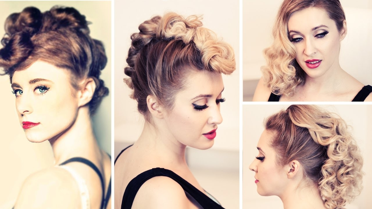 Rockstar Hair Tutorial: Kiesza'a Faux Hawk Hairstyle, Retro Curls Within Current Punky Ponytail Hairstyles (View 17 of 20)