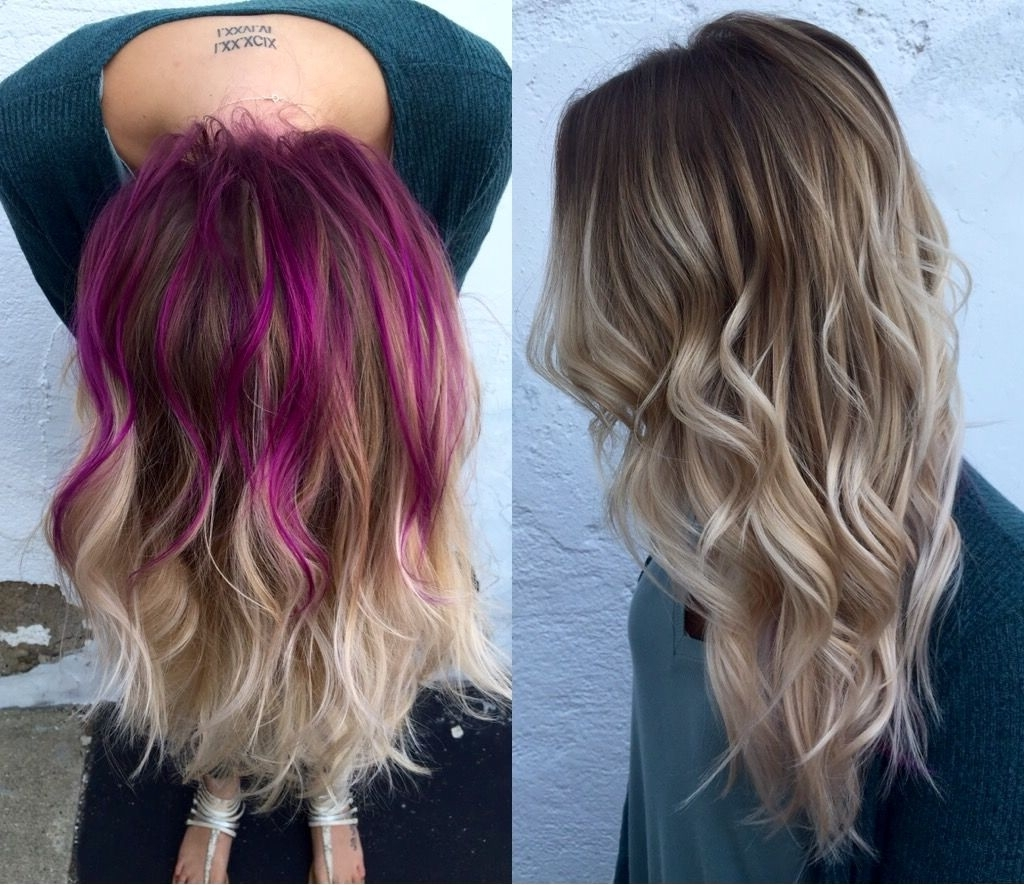 Rooty Blonde Balayage. Pravana Wild Orchid. Peekaboo. Flashlight With 2018 High Braided Pony Hairstyles With Peek A Boo Bangs (Gallery 7 of 20)