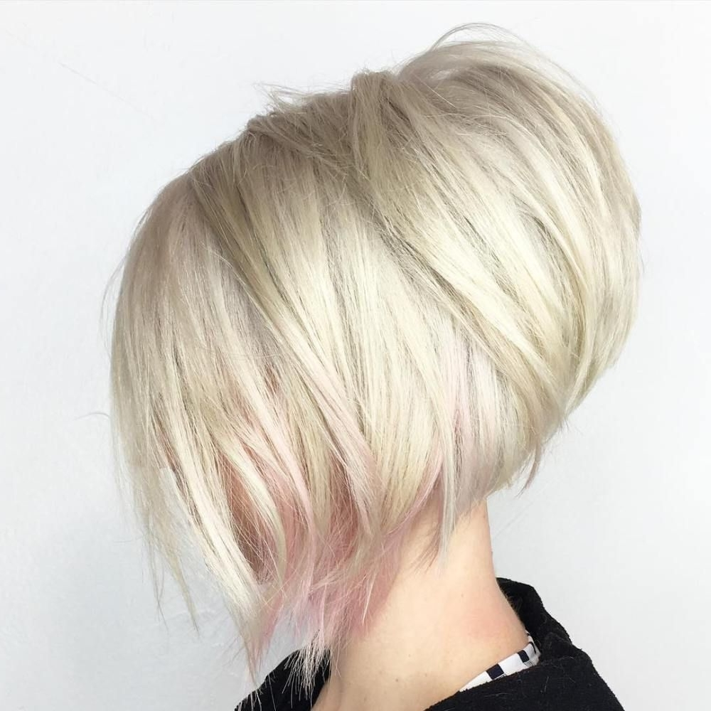 Rose Gold Inside 2018 Inverted Blonde Bob For Thin Hair (View 10 of 20)