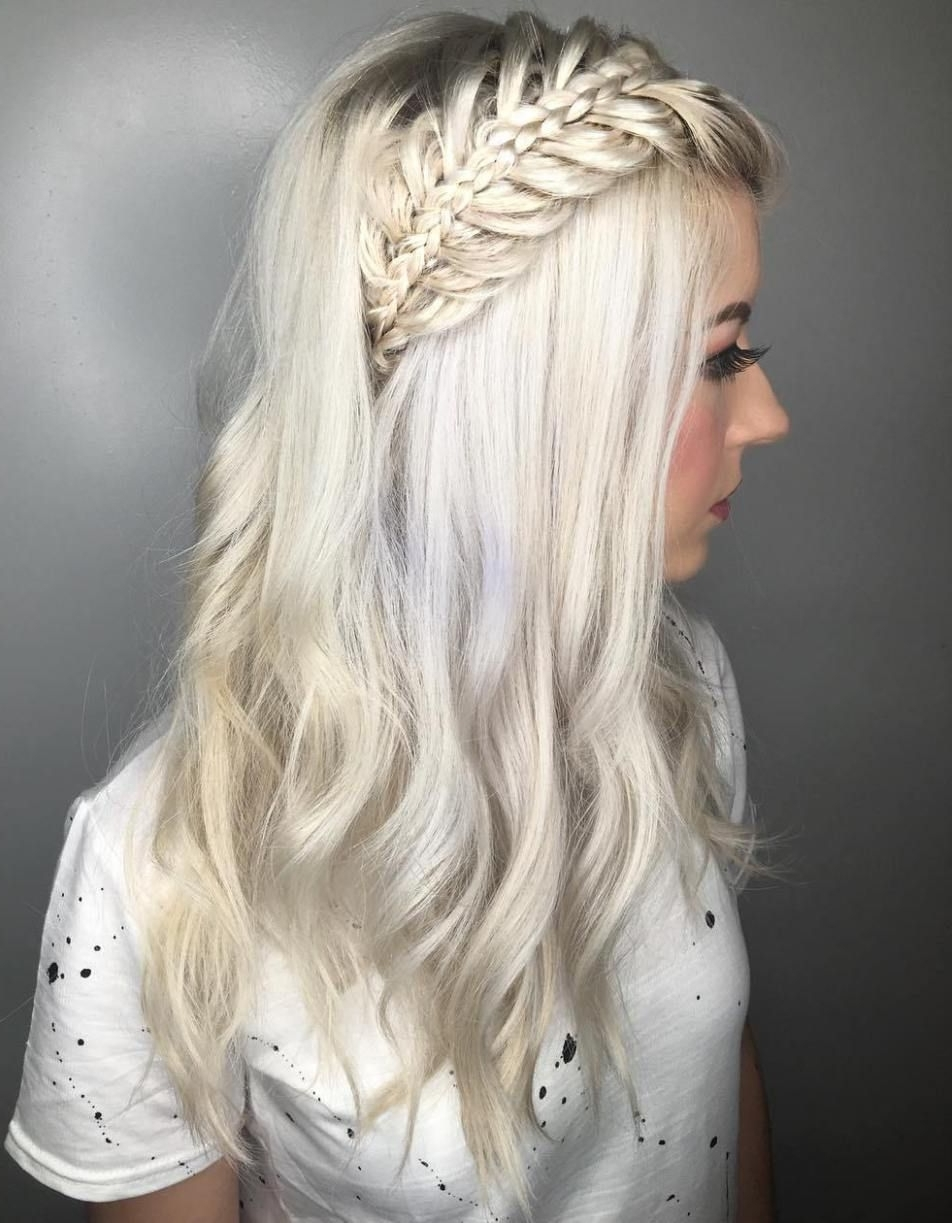 Shag Hairstyles With Bangs With Most Up To Date Platinum Braided Updo Blonde Hairstyles (View 16 of 20)