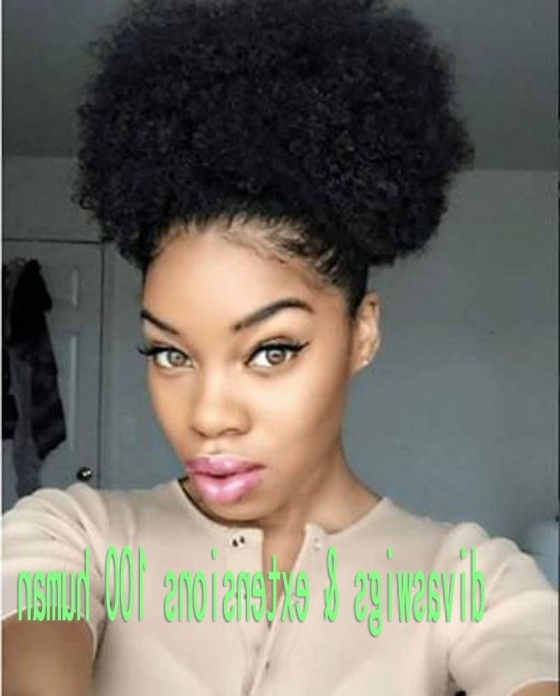 Short High Ponytail Afro Natural Curly (View 17 of 20)