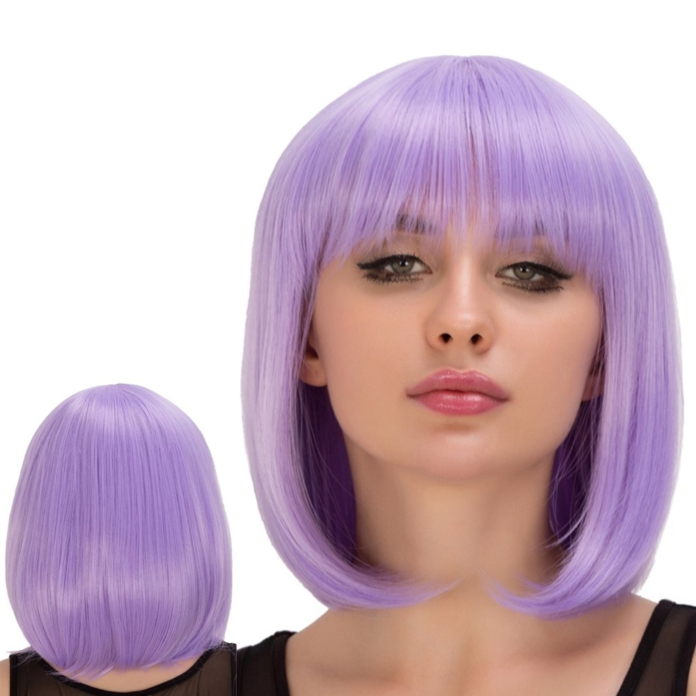 Short Straight Full Bang Bob Hairstyle Film Character Cosplay Wig In Intended For Trendy Lavender Pixie Bob Hairstyles (View 20 of 20)