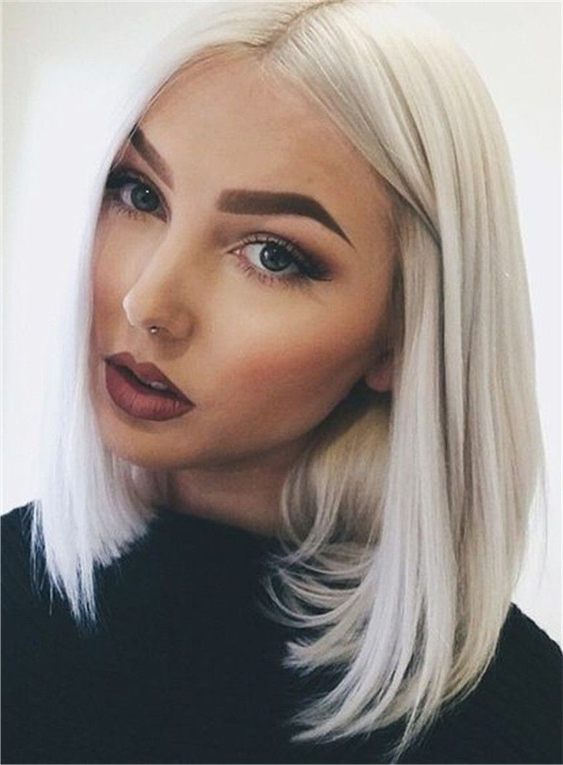 Shoulder Length Middle Part Straight Hairstyle Synthetic Lace Front Within Famous Silver Blonde Straight Hairstyles (View 19 of 20)