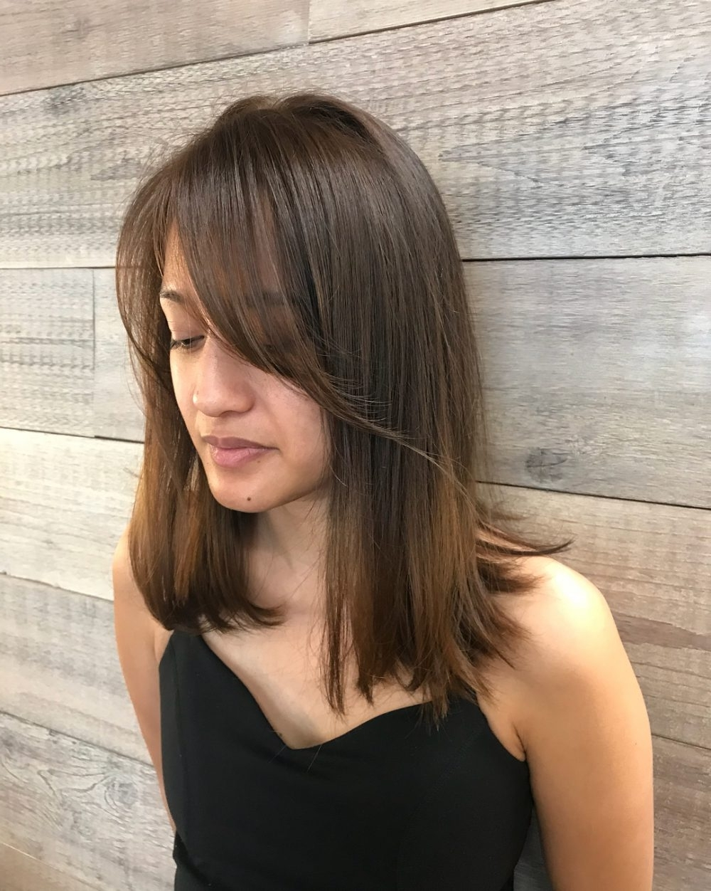 Side Swept Bangs: 43 Ideas That Are Hot In 2018 With Regard To Latest Weaved Polished Pony Hairstyles With Blunt Bangs (View 19 of 20)