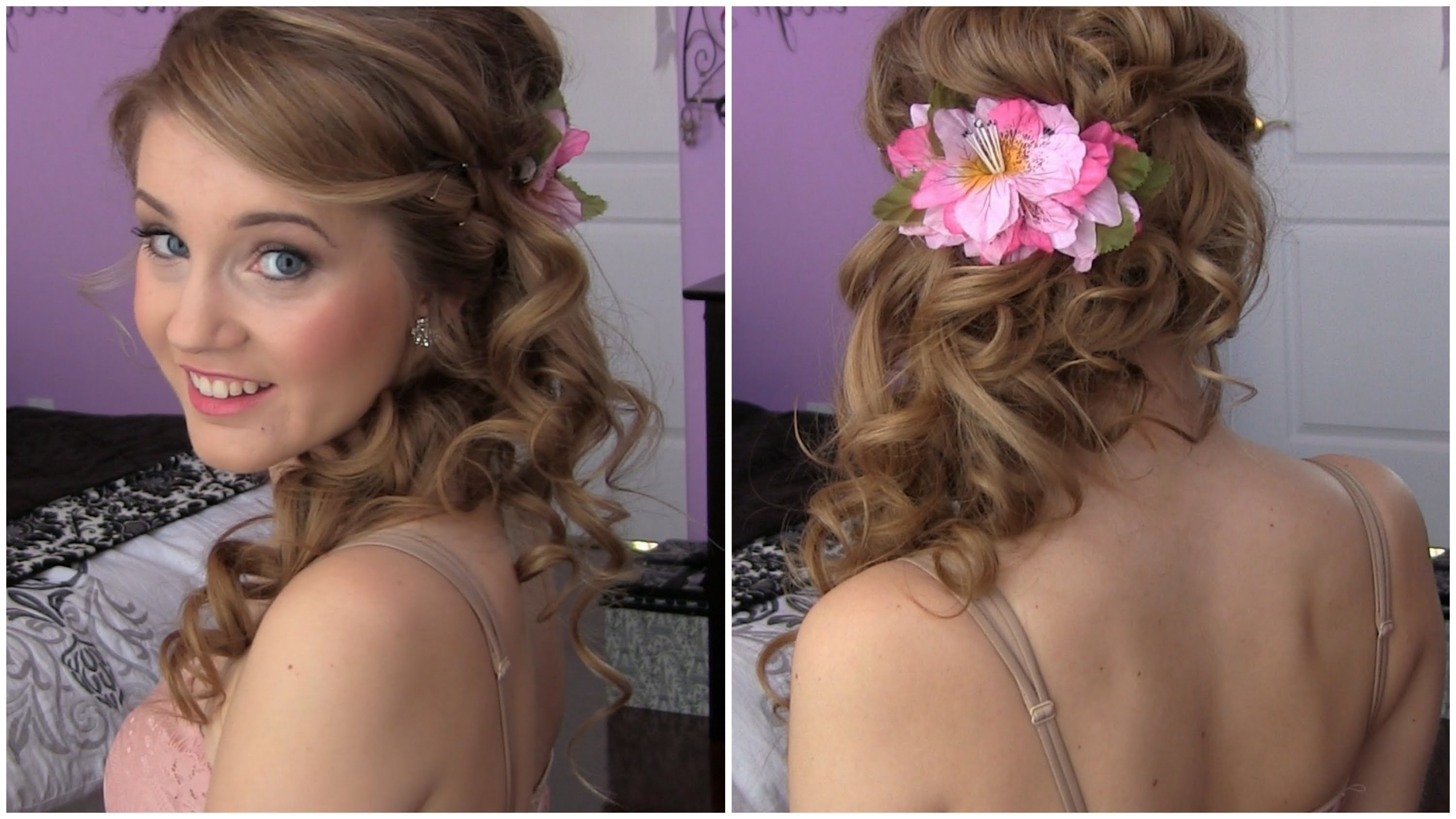 Side Swept Cascading Curls – Easy Diy Prom Hair Tutorial – Youtube With Famous Side Swept Curly Ponytail Hairstyles (View 13 of 20)