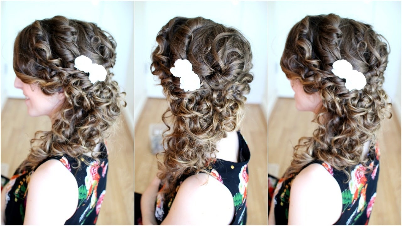 Side Swept Cascading Curls / Prom Homecoming Hair With Regard To Most Recent Side Swept Curly Ponytail Hairstyles (View 17 of 20)