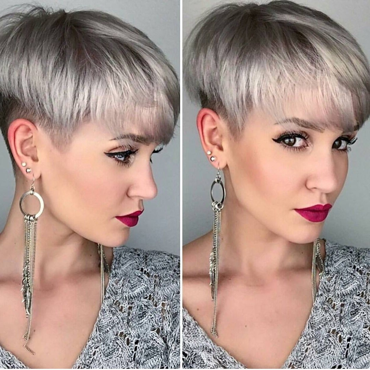 Silver Platinum Blonde Hair Color And Perfect Pixie Haircut Pertaining To Preferred Sassy Silver Pixie Blonde Hairstyles (View 13 of 20)