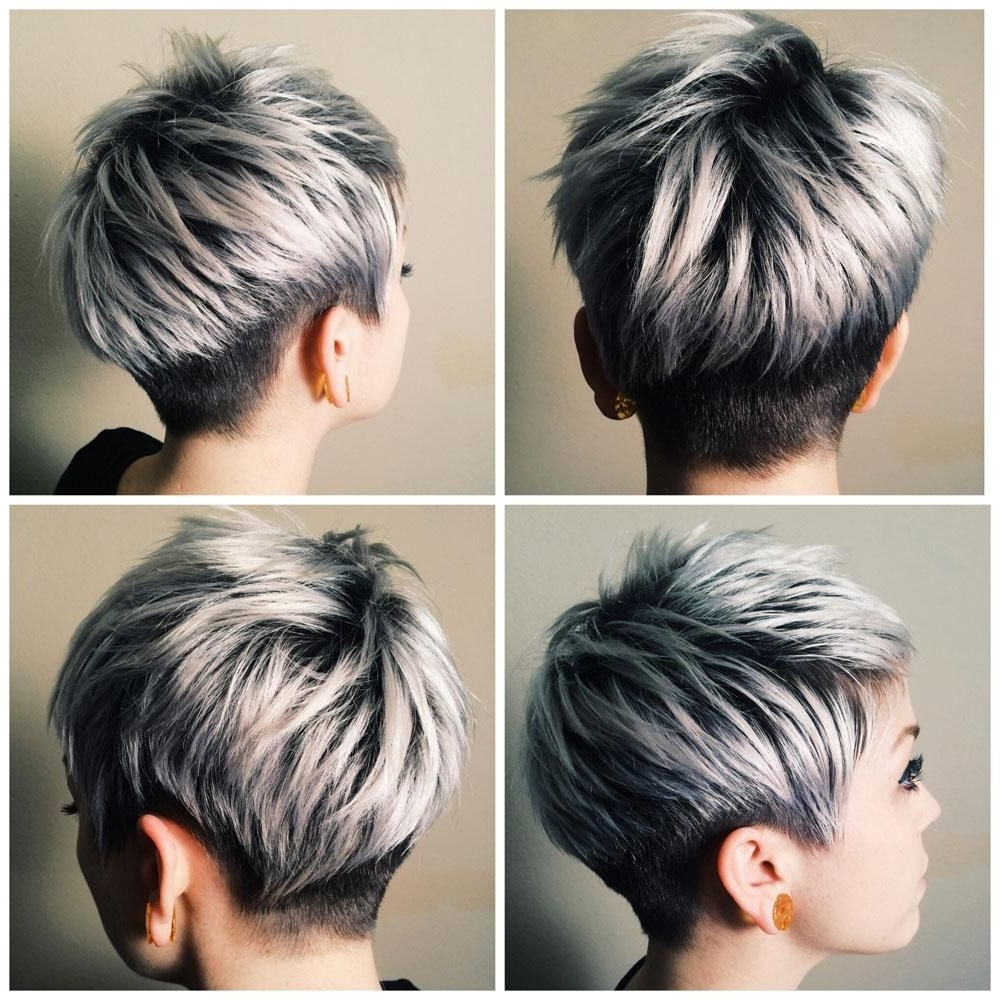 Silver/platinum Hair Color In Well Known Reverse Gray Ombre Pixie Hairstyles For Short Hair (View 17 of 20)