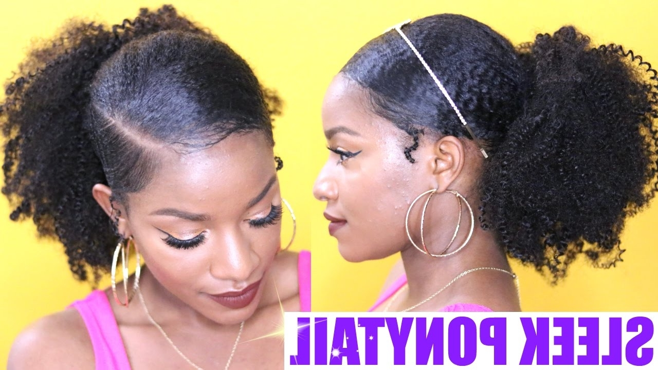 Sleek Low Ponytail On Natural Hair – Youtube Pertaining To Famous Neat Ponytail Hairstyles With Voluminous Curls (View 20 of 20)