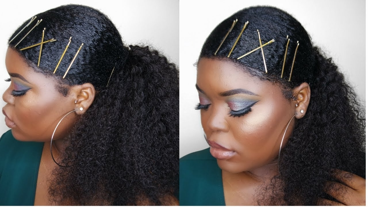Sleek Low Ponytail On Thick, Kinky Natural Hair – Youtube For Trendy Black And Luscious Pony Hairstyles (View 11 of 20)