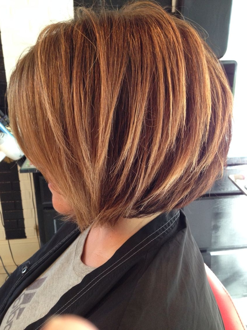 Stacked Bob, Highlighted Brunette, Razored Bob, Soft Highlights Pertaining To Fashionable Voluminous Stacked Cut Blonde Hairstyles (View 18 of 20)