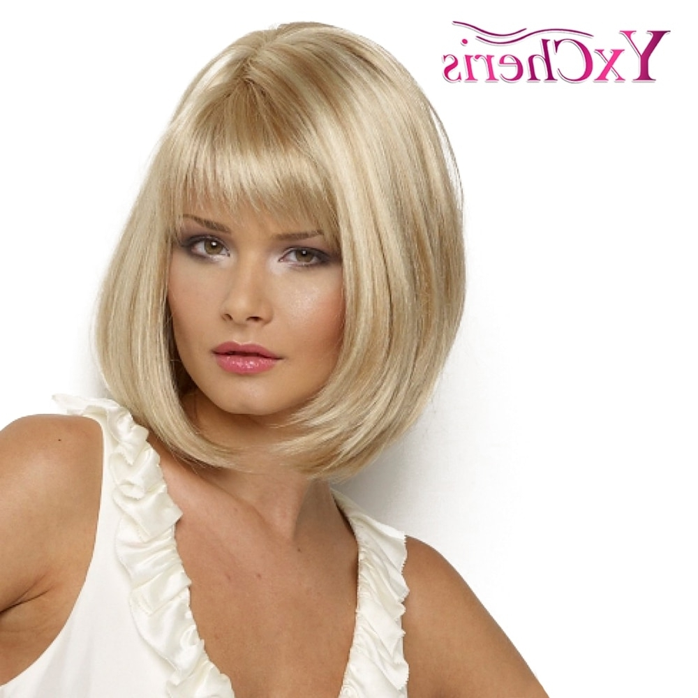 Synthetic Wig Straight Bob Hair Cut With Bangs Heat Resistant Side Throughout Most Recently Released Blonde Bob With Side Bangs (View 18 of 20)