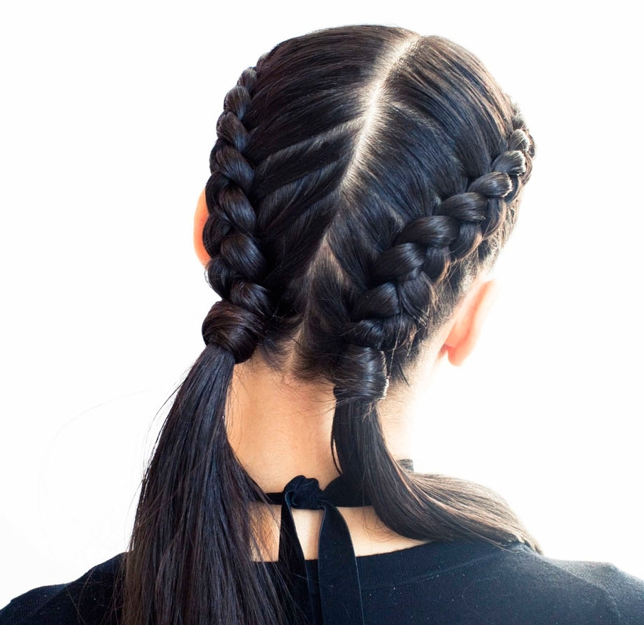 The Boxer Braid (Aka Double French Braid): A How To – Coveteur Intended For Current Half French Braid Ponytail Hairstyles (View 18 of 20)