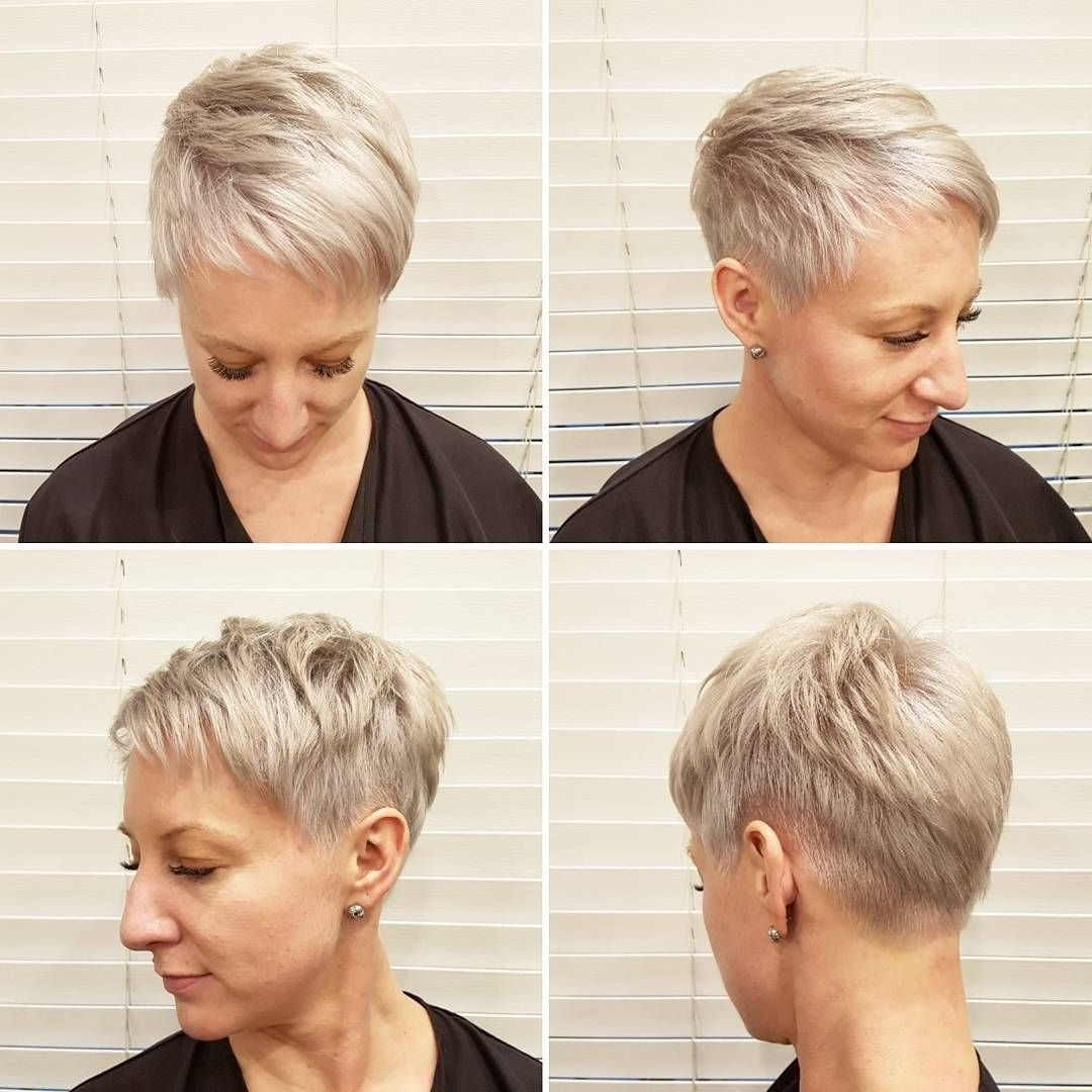This Platinum Textured Pixie With Taper And Asymmetric Bangs Is A Throughout Well Liked Platinum Blonde Disheveled Pixie Hairstyles (View 17 of 20)
