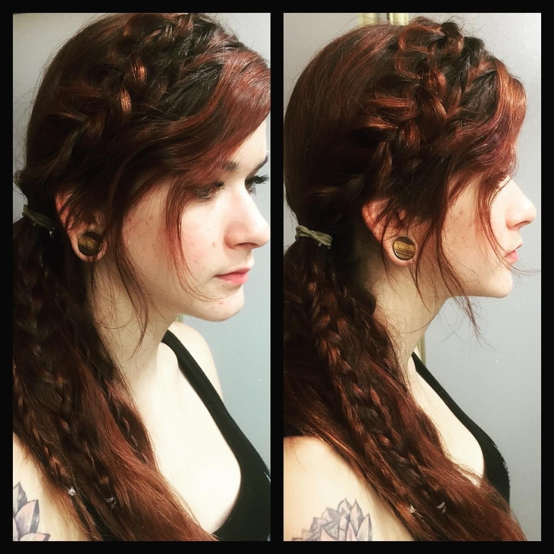 Top Hairstyle Ideas Pertaining To Well Known Side Pony Hairstyles With Fishbraids And Long Bangs (View 6 of 20)