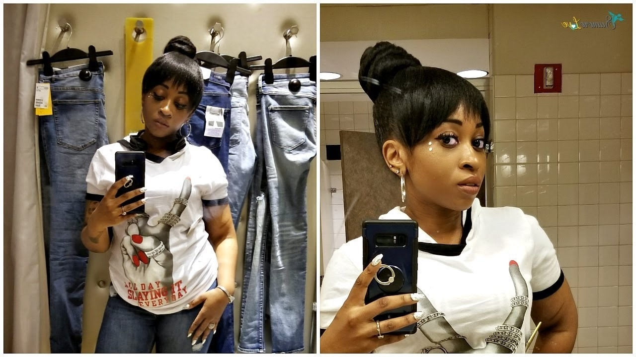 Top Knot Bun And Bangs Tutorial Protective Style – Youtube Regarding 2018 Pineapple Pony Hairstyles With Whirl Bangs (View 15 of 20)