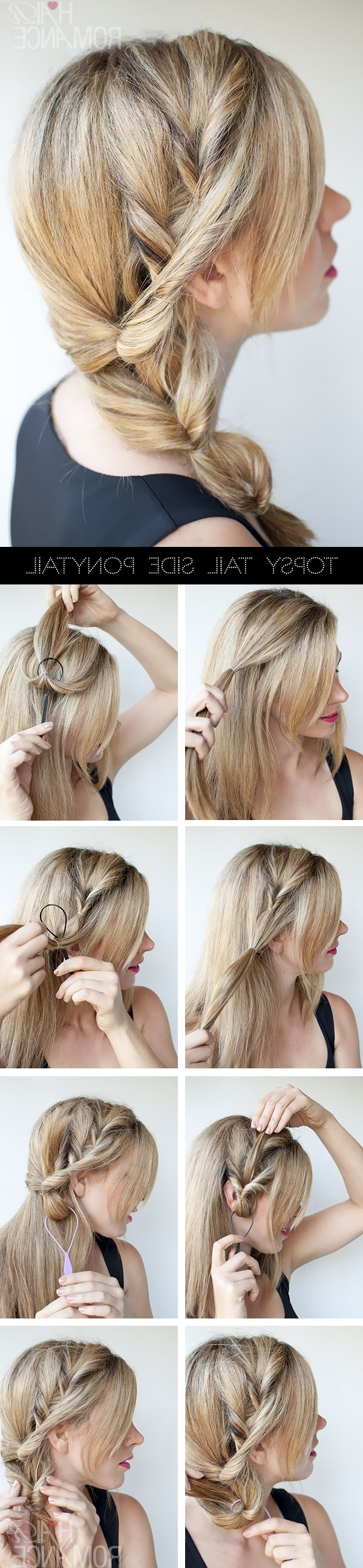 Topsy Tail Ponytail Tutorial – The No Braid Side Braid Hairstyle Within Most Popular Updo Pony Hairstyles With Side Braids (Gallery 20 of 20)