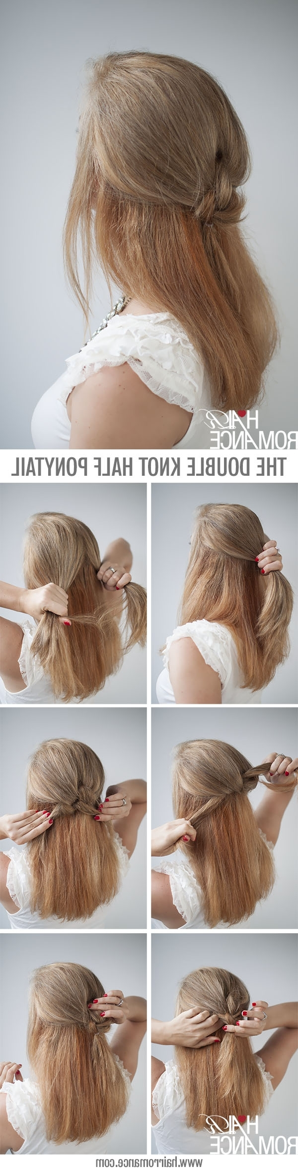 Trendy Double Tied Pony Hairstyles In Knot Your Average Half Ponytail Hairstyle Tutorial – Hair Romance (View 17 of 20)