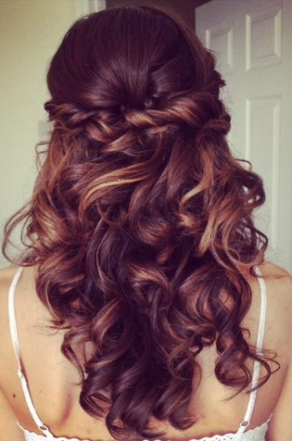 Trendy Formal Half Ponytail Hairstyles Intended For Elegant Curly Half Updo Prom Hairstyle With Bouncy Long Curls (View 8 of 20)