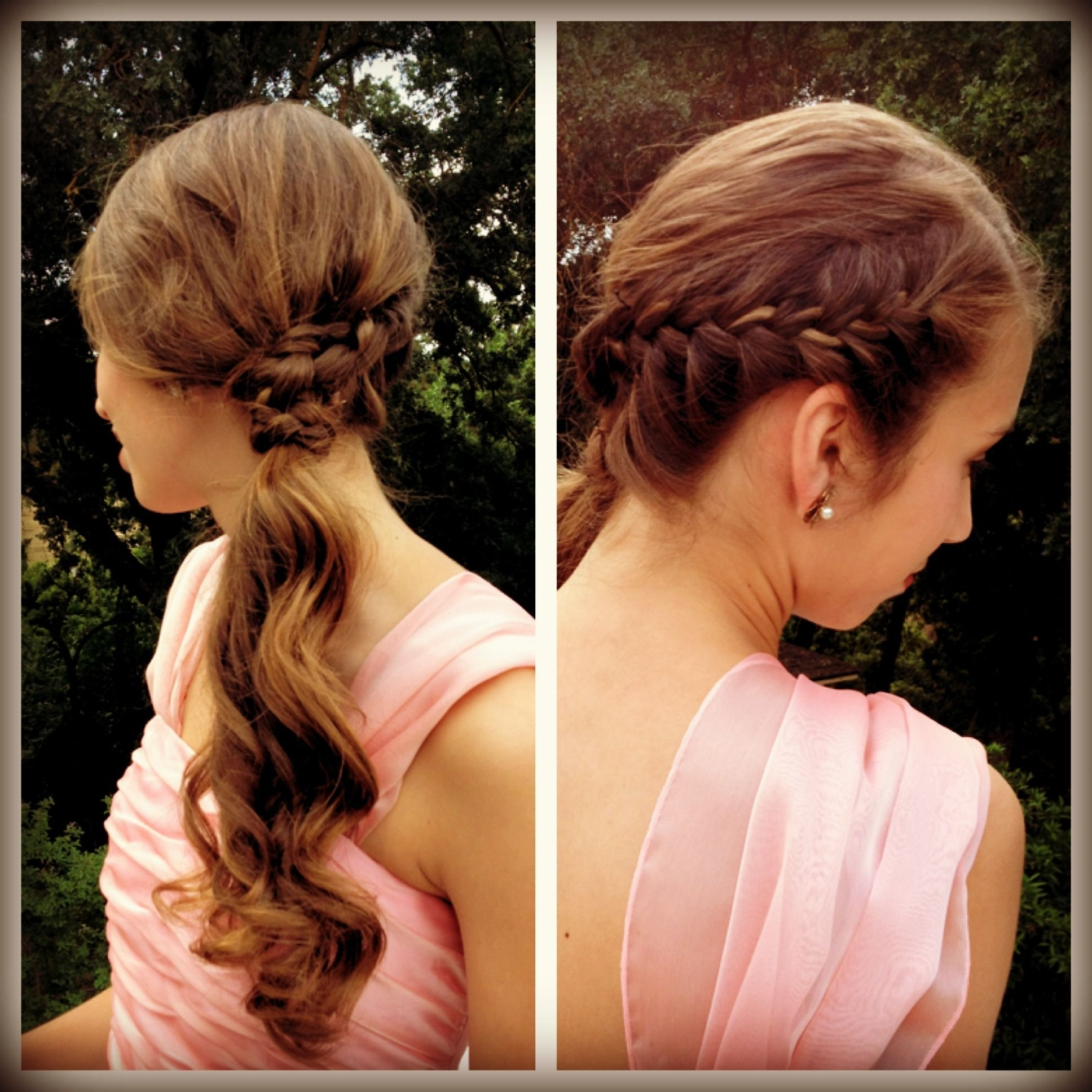 Trendy Long Pony Hairstyles With A Side Braid Pertaining To Emily's Hairstyle For Our Grandmas Wedding French Braid Into Side (View 18 of 20)