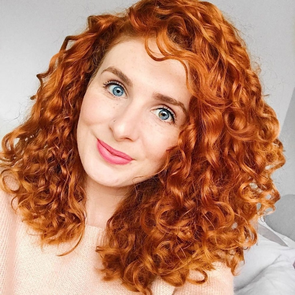 Trendy Shoulder Grazing Strawberry Shag Blonde Hairstyles Regarding 30 Gorgeous Medium Length Curly Hairstyles For Women In  (View 17 of 20)