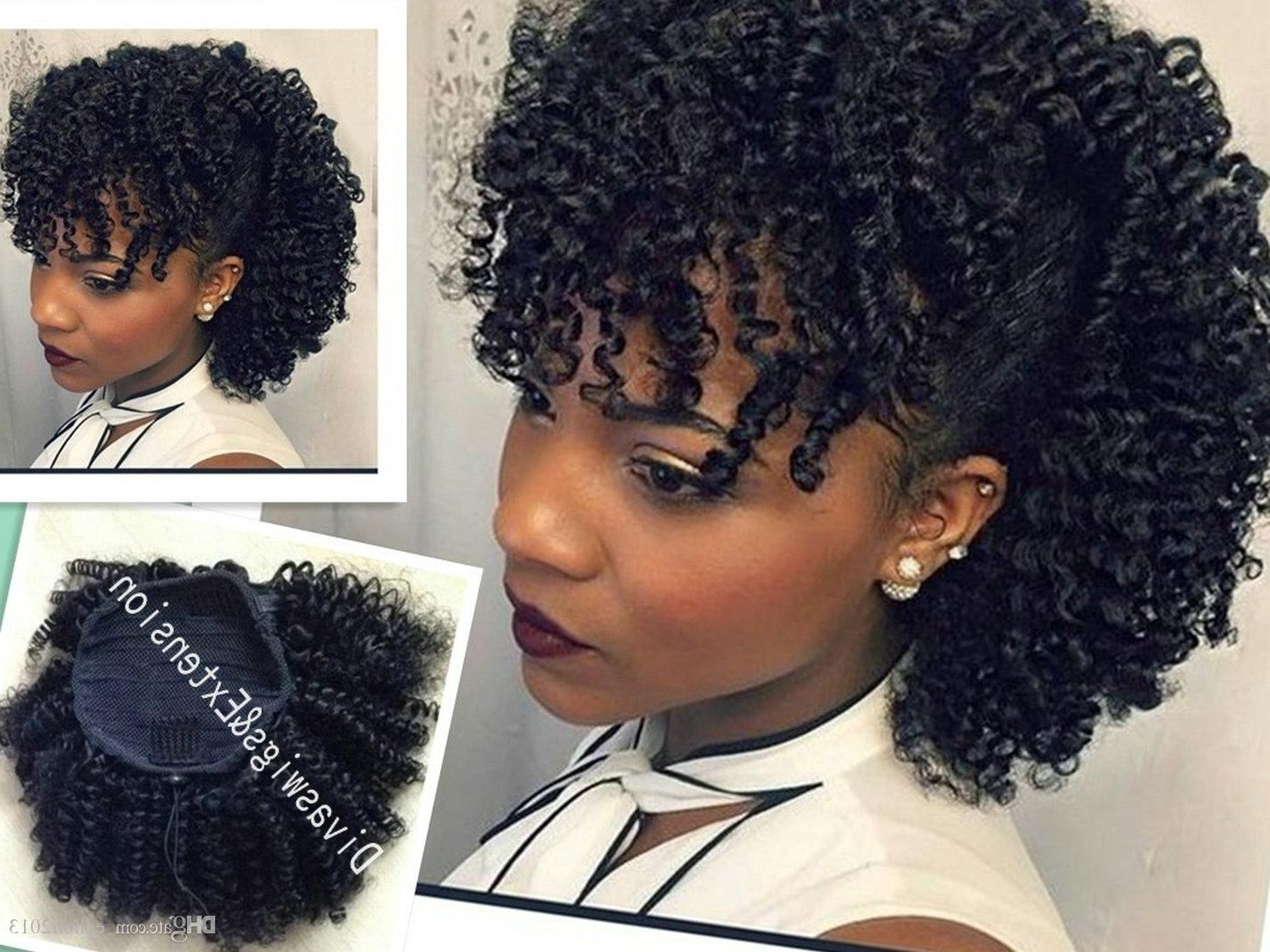 Trendy Side Bangs And Pony Hairstyles For Wavy Hair With Regard To Afro Kinky Curly Human Hair Drawstring Ponytail For Girl Curly Hair (View 18 of 20)